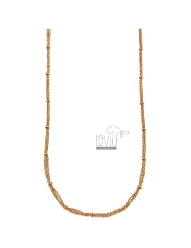 NECKLACE CABLE 3 WIRES WITH DONUTS IN BRONZE COPPER CM 45.50