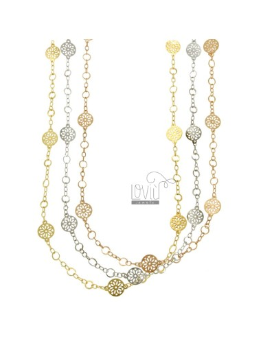 NECKLACE WITH CABLE DISKETTES PERFORATED PZ 3 BRONZE TRICOLORE CM 90
