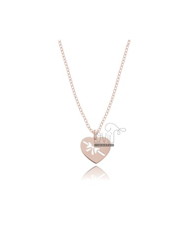ROLO NECKLACE WITH HEART WITH BOW PENDANT IN COPPER SILVER TIT 925 ‰ CM 45