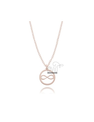ROLO NECKLACE WITH INFINITY IN THE CIRCLE PENDANT IN COPPER SILVER TIT 925 ‰ CM 45