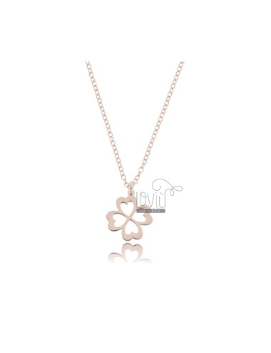 ROLO NECKLACE WITH FOUR LEAF CLOVER PENDANT IN COPPER SILVER TIT 925 ‰ CM 45