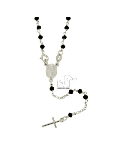 ROSARY NECKLACE ROLO &39WITH BALLS STONE faceted 3.5 MM SILVER RHODIUM TIT 925 ‰ CM 50
