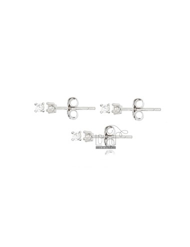 KIT 3 PAIRS EARRINGS LIGHT POINT WITH WHITE ZIRCON MM 2 IN SILVER RHODIUM 925 ‰
