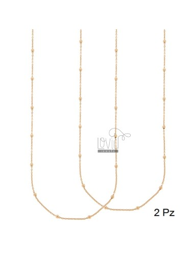 LACE PZ 2 CHAIN AND BALL 2.5 MM ALTERNATE SILVER COPPER TIT 925 ‰ CM 70