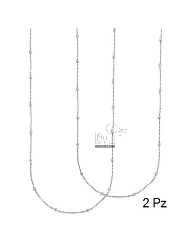 LACE PZ 2 CHAIN AND BALL 2.5 MM ALTERNATE SILVER RHODIUM TIT 925 ‰ CM 70