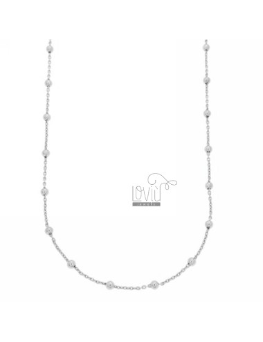 LACE PZ 3 CHAIN AND BALL 2.5 MM ALTERNATE SILVER RHODIUM TIT 925 ‰ CM 40