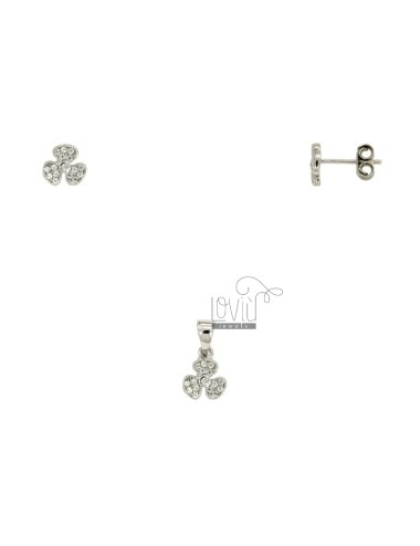 LOBO EARRINGS PROPELLER 7X7 MM AND CHARM IN SILVER RHODIUM TIT 925 ‰ AND ZIRCONIA