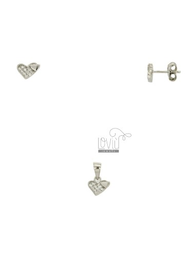 EARRINGS AND PENDANT HEART SILVER RHODIUM TIT 925 ‰ AND ZIRCONIA