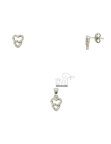 EARRINGS AND PENDANT HEARTS IN SILVER RHODIUM TIT 925 ‰ AND ZIRCONIA
