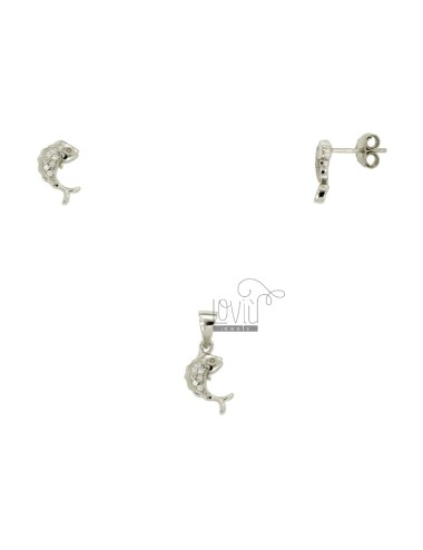 EARRINGS AND PENDANT DOLPHIN IN SILVER RHODIUM TIT 925 ‰ AND ZIRCONIA