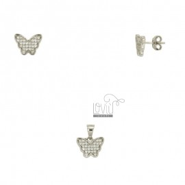 EARRINGS AND PENDANT BUTTERFLY SILVER RHODIUM TIT 925 ‰ AND ZIRCONIA