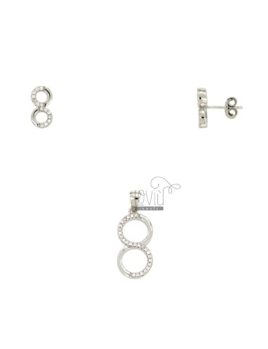 EARRINGS AND ENDLESS CHARM SILVER RHODIUM TIT 925 ‰ AND ZIRCONIA