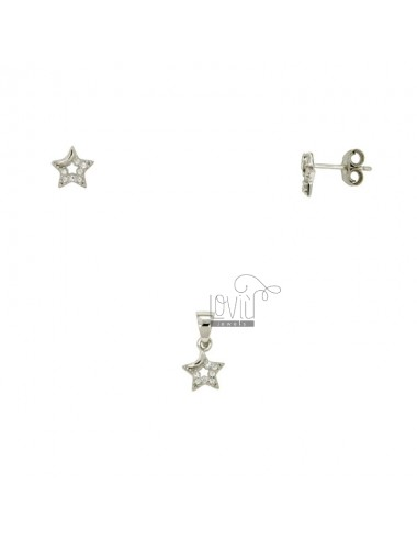 EARRINGS AND PENDANT STAR SILVER RHODIUM TIT 925 ‰ AND ZIRCONIA