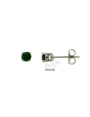 EARRINGS WITH POINT LIGHT 4 MM ZIRCONE GREEN SILVER RHODIUM 925 ‰