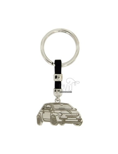 KEY RING MACHINE 500 MM 37X20 SILVER RHODIUM 925 ‰ AND LEATHER