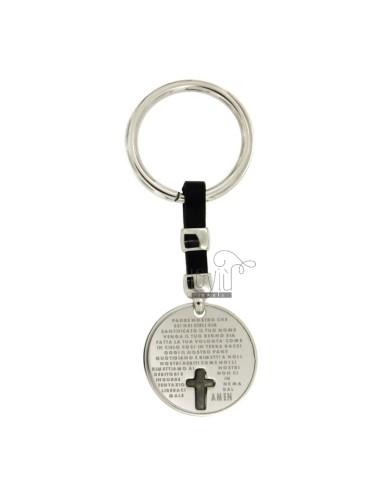KEY RING ROUND 28 MM WITH OUR FATHER IN SILVER PLATED RHODIUM AND RUTHENIUM 925 ‰ AND LEATHER