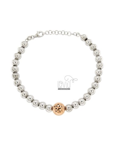 BRACELET WITH MM 6 BALLS WITH CENTRAL BALL MM 10 WITH STAINLESS STEEL SILVER AND REDUCED TIT 925 ‰ CM 17-21