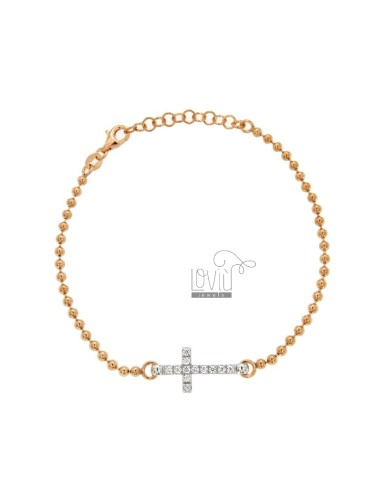 MM 25 PALLET BRACELET WITH CENTRAL CROSS WITH SILVER WHITE SILVER AND REDUCED TIT 925 ‰ CM 17-21