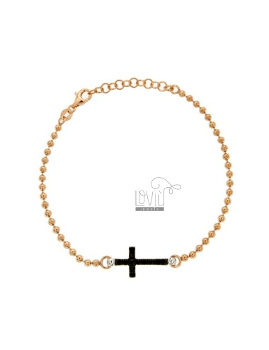 MM 25 PALLET BRACELET WITH CENTRAL CROSS WITH CRYSTAL BLACK SILVER RATED AND PLATED RUTENIO TIT 925 ‰ CM 17-21