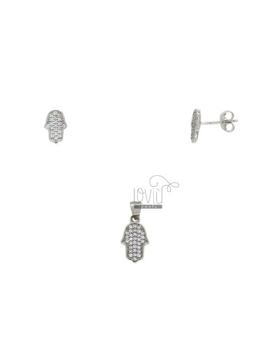 EARRINGS PARK AND PINK PINK HAND WITH PATTERNS IN SILVER REDUCED TIT 925 ‰