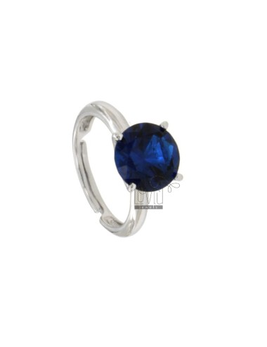 SOLITARY RING WITH ZIRCONE MM 10 BLUE SILVER REDUCED TIT 925 ‰ ADJUSTABLE MEASUREMENT