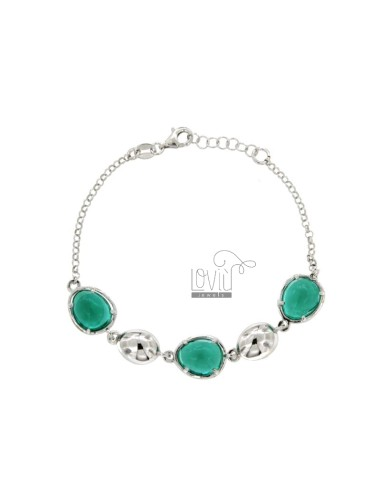ROLE BRACELET WITH ALTERNATED SILICONE POLISHES AND STEPS GREEN HYDROPHORMS SILVER SILVER REDUCED TIT 925 CM 80