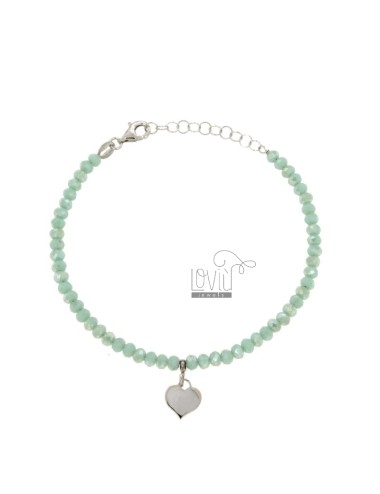 BRACELET WITH WATERPROOF HYDROPHORMS STAINLESS STEEL GREEN TIFFANY AND SILVER PENDANT SILVER REDUCED TIT 925 ‰ CM 16-19