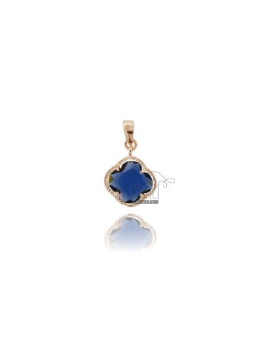 PINK PICCOLO IN STONE STYLE COLOR BLUE 1 AND AG PLATED GOLD ROSE TIT 925