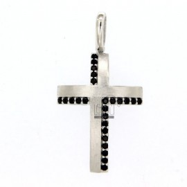 PINK CROSS MM 30X20 SILVER REDUCED SATIN TIT 925 ‰ AND ZIRCONI NERI