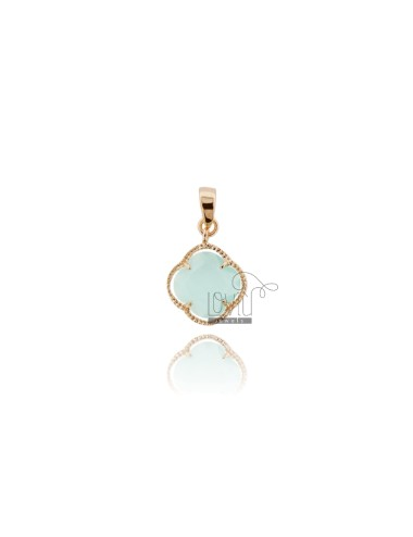 SMALL FLOWER PENDANT IN HYDROTHERMAL STONE GREEN TIFFANY 20 COLOR AND ROSE GOLD PLATED AG TIT 925