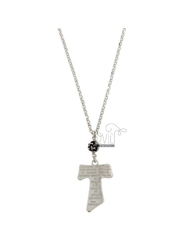DIAMONDED FORZATINA CHAIN ??WITH TAO PENDENT WITH CREDIT IN SILVER RED AND BRITISH TIT 925 ‰ CM 50