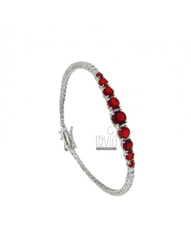 TENNIS BRACELET MM 2 SILVER REDUCED 925 ‰ WITH WHITE WHEELS AND 9 RED CENTRAL DEGRADES CM 18