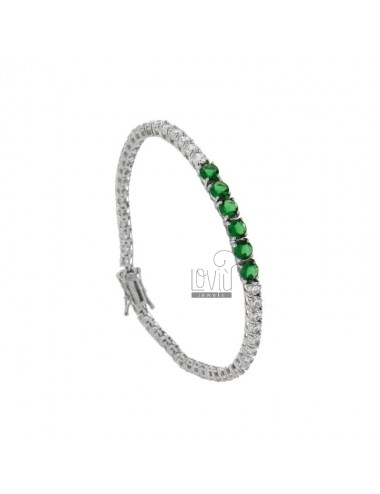 TENNIS BRACELET MM 3 SILVER REDUCED 925 ‰ WITH WHITE WHEELS AND 5 CENTERS GREEN CM 18