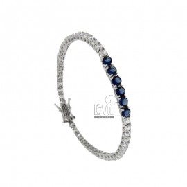 TENNIS BRACELET MM 3 SILVER REDUCED 925 ‰ WITH WHITE WHITE AND 5 BLUE CENTERS CM 18