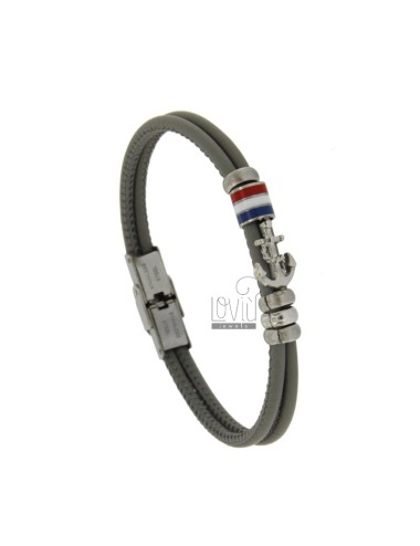 STAINLESS STEEL BRACELET GRAY LEATHER WITH CENTRAL SMALTATE LENGTH AND BANDIER CM 21