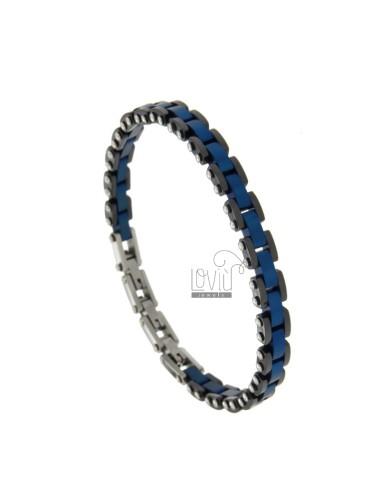 STEEL BRACELET BLACK AND BLUE CERAMICS CM 21