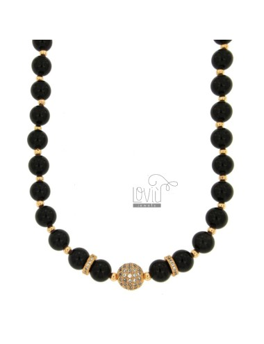 NECKLACE WITH BLACK AGATA BLACK MM 9 AND BRASS BRAKES WITH BRASS 45-50