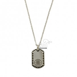 RECTANGULAR PENDANT WITH CENTRAL TIMONE AND STAINLESS STEEL CM 45-50 FORZATINA CHAIN