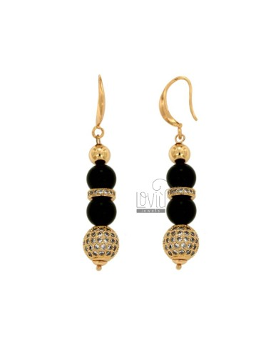 Pendent earrings with black...