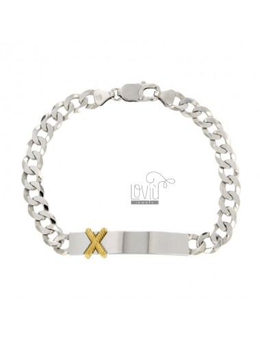 MM 8 GRAPHIC BRACELET WITH PLATE AND X GOLD SIZE CM 20 SILVER REDUCED TIT 925