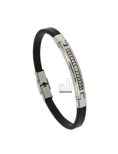LEATHER BRACELET WITH STAINLESS STEEL CM 21 AND STRAIGHT