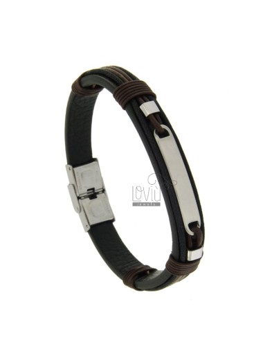 LEATHER BRACELET WITH CENTRAL STEEL AND STEEL CM 21