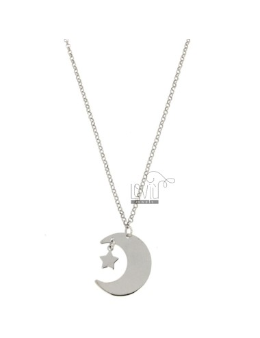 FORZATINA NECKLACE WITH MOON AND STYLE IN SILVER REDUCED TIT 925 ‰ CM 40-43