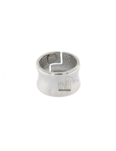 BAND RING CONCAVE 13 MM SILVER RHODIUM TIT 925 ‰ ADJUSTABLE SIZE FROM 13