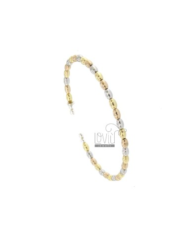 RIGID BRACELET WITH OLIVETTE MM 4X3 IN SILVER TRICOLOR RODIATED RED AND GOLDEN TIT 925