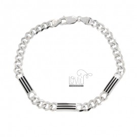 GRUMETTA BRACELET WITH 3 MM ALTERNATE PLATES 5 WITH BLACK ENAMELLED PARTS IN SILVER RHODIUM TIT 925 ‰ CM 20