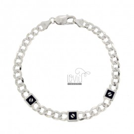 GRUMETTA BRACELET WITH 3 MM ALTERNATE PLATES 7 WITH BLACK ENAMELLED PARTS IN SILVER RHODIUM TIT 925 ‰ CM 20