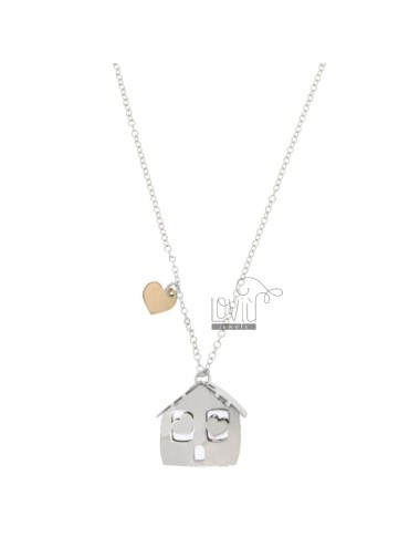 ROLO NECKLACE WITH HOUSE PENDANT IN SILVER RHODIUM AND COPPER TIT 925 ‰ CM 40-45