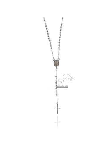 ROSARY NECKLACE WITH SMOOTH BALL OF 3 MM 50 CM IN STEEL