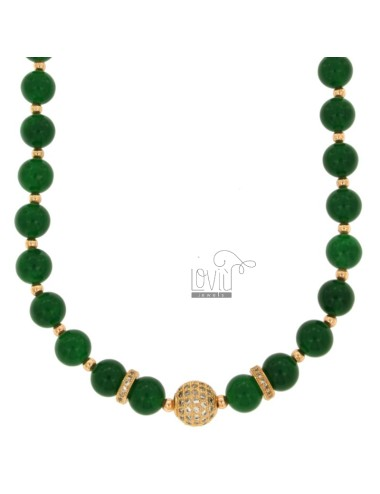 NECKLACE WITH BALLS OF AGATA GREEN 9 MM AND TRAMEZZI WITH BRASS ZIRCONIA CM 45-50
